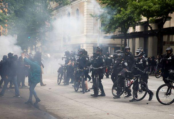 PHOTO: Seattle police use a bike line after using pepper spray and flash bangs during a protest in Seattle, May 31, 2020. (Lindsey Wasson/Reuters)