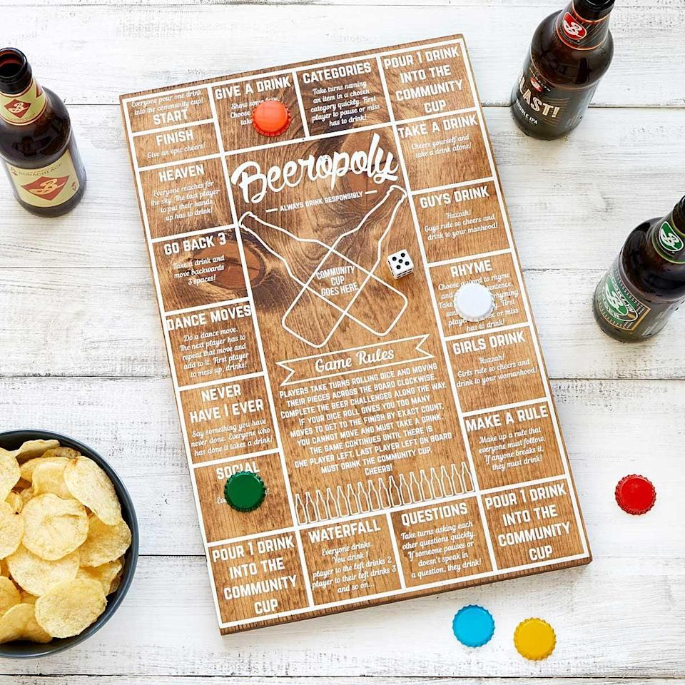 <p><span>Beeropoly</span> ($35) might be the best game ever. Each spot around the board is a different challenge including dancing, drinking, and rhyming words in a sentence, which will obviously get more difficult as the night goes on!</p>