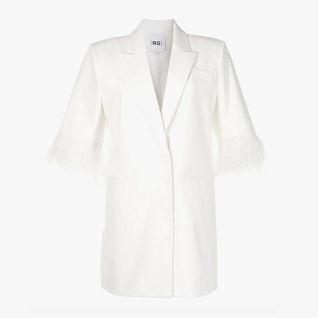 "$1561, FARFETCH. <a href=""https://www.farfetch.com/ca/shopping/women/rachel-gilbert-scout-double-breasted-feather-trim-dress-item-16084174.aspx?storeid=11685"" rel=""nofollow noopener"" target=""_blank"" data-ylk=""slk:Get it now!"" class=""link rapid-noclick-resp"">Get it now!</a>"