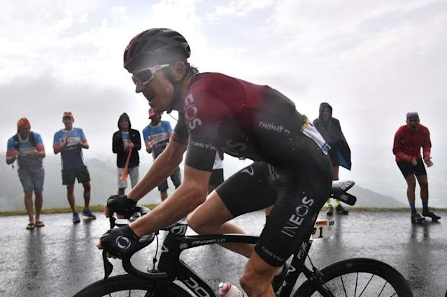 Geraint Thomas pulled off a late surge Sunday, losing time to Thibaut Pinot, but regainsing time on Alaphilippe (AFP Photo/Marco Bertorello)