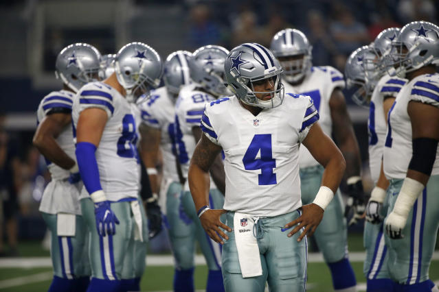 "<a class=""link rapid-noclick-resp"" href=""/nfl/players/29369/"" data-ylk=""slk:Dak Prescott"">Dak Prescott</a> was a revelation as a rookie, and now looks to make a fantasy leap. (AP Photo/Ron Jenkins)"