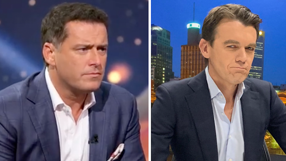 ABC News Breakfast host Michael Rowland (R) has poked fun at Karl Stefanovic (L) and his Ubergate scandal. Photo: Channel Nine (L) and Twitter/mjrowland68 (R)