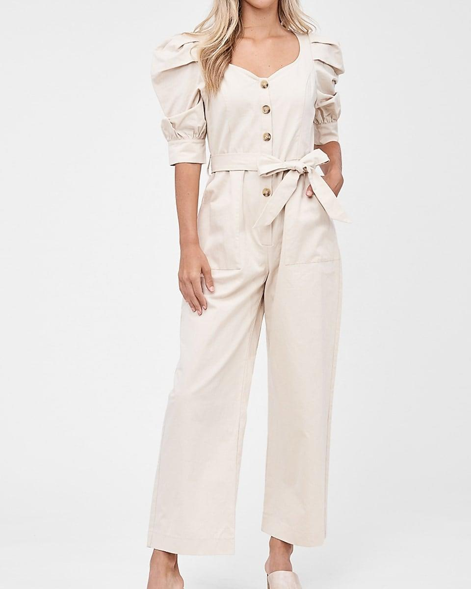 <p>Get this <span>En Saison Poplin Puff Sleeve Belted Jumpsuit</span> ($110) for your off-duty look.</p>