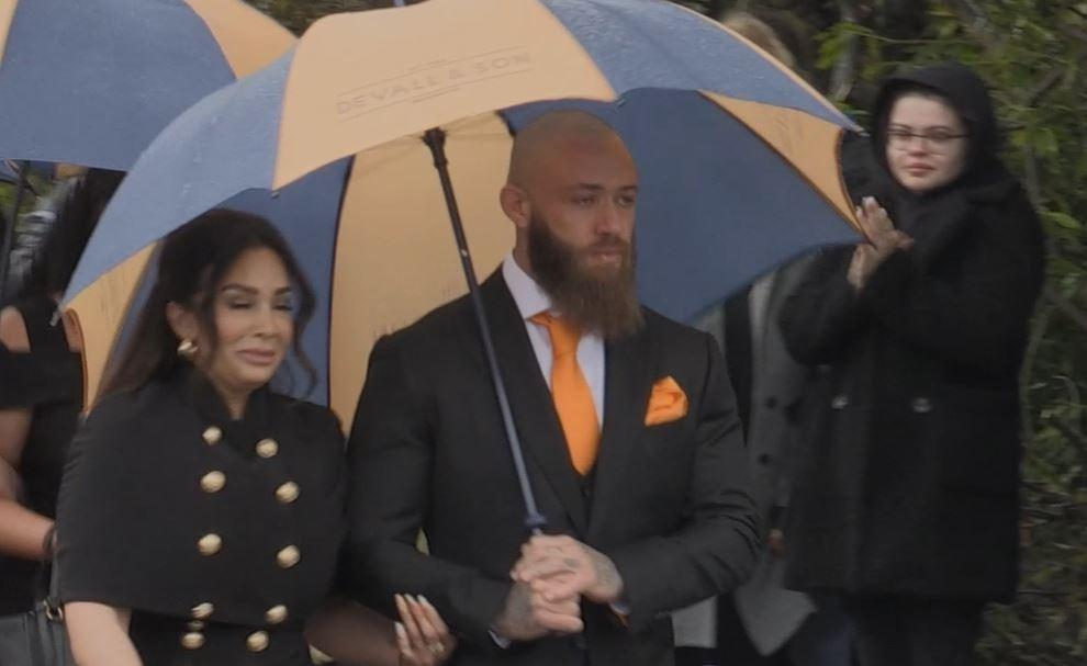 Ashley Cain and his partner Safiyya Vorajee during the funeral procession for Azaylia Cain in Nuneaton, Warwickshire. Hundreds of well-wishers lined the streets for the funeral of the eight-month-old, who was the daughter of former Coventry City footballer and Ex On The Beach star Mr Cain. Picture date: Friday May 21, 2021.
