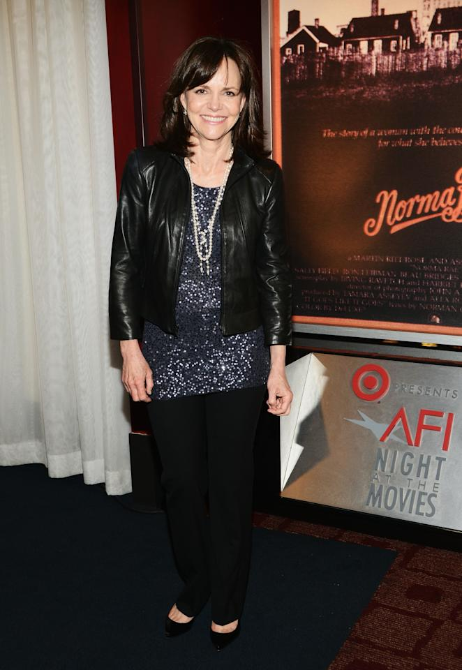 "HOLLYWOOD, CA - APRIL 24:  Actress Sally Field poses during a screening of ""Norma Rae"" at Target Presents AFI's Night at the Movies at ArcLight Cinemas on April 24, 2013 in Hollywood, California.  (Photo by Araya Diaz/Getty Images for AFI)"