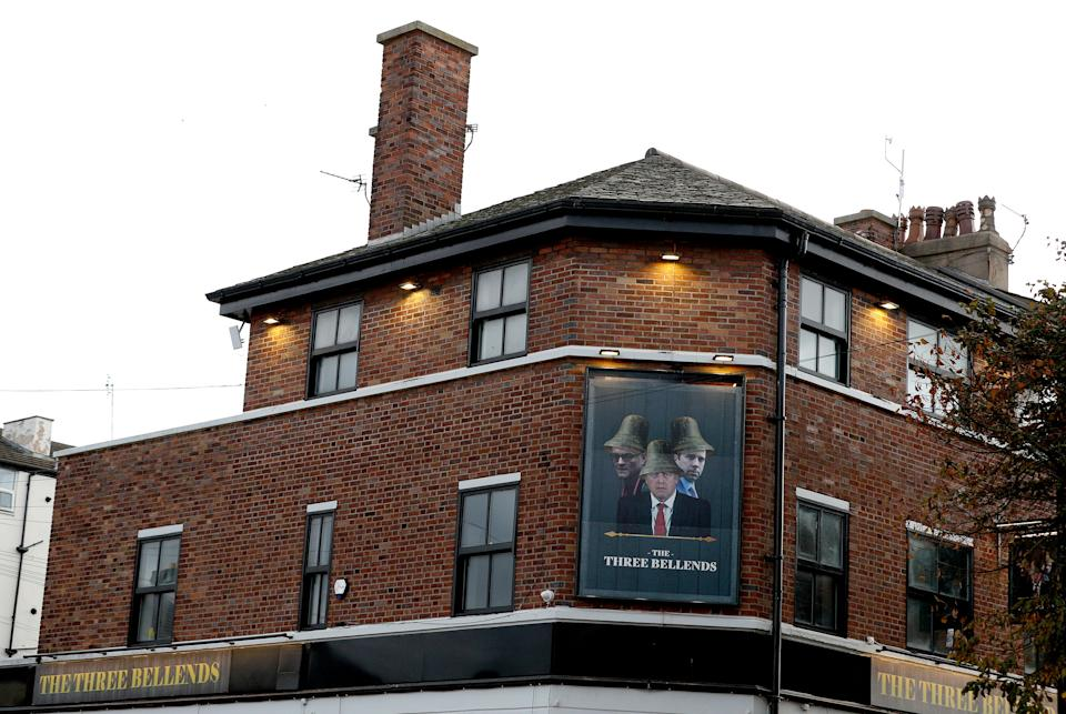 The James Atherton in New Brighton, the Wirral, which has renamed itself ÒThe Three BellendsÓ Ð with a sign featuring the faces of Prime Minister Boris Johnson, his close adviser Dominic Cummings and Health Secretary Matt Hancock. (Photo by Peter Byrne/PA Images via Getty Images)