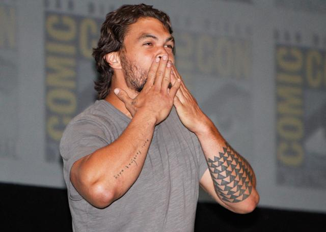 "Jason Momoa makes a surprise appearance at HBO's ""Game Of Thrones"" panel at San Diego Convention Center on July 19, 2013 in San Diego, California."