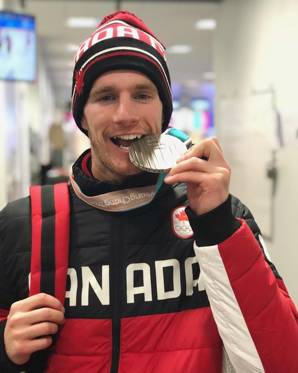 <p>Max Parrot Canada, snowboard<br> maxparrot: Thank you all for the support!! I have the best fans ever!! You all inspires me to accomplish great things like this bite!! #olympics #snowboarding<br> (Photo via Instagram/maxparrot) </p>