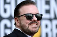 British host Ricky Gervais skewered the Hollywood elite in his opening monologue at the Golden Globes