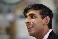 Britain's Chancellor of the Exchequer Rishi Sunak visits the Worcester Bosch factory to promote the initiative, Plan for Jobs, in Worcester, England, Thursday July 9, 2020. (Phil Noble/Pool via AP)