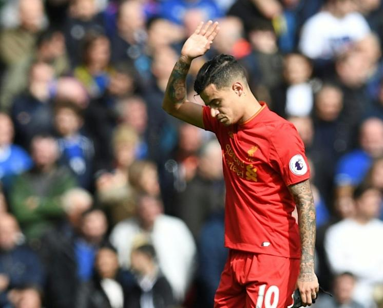 Liverpool's Philippe Coutinho acknowledges the fans after he was substituted during the Premier League match against Everton at Anfield on April 1, 2017