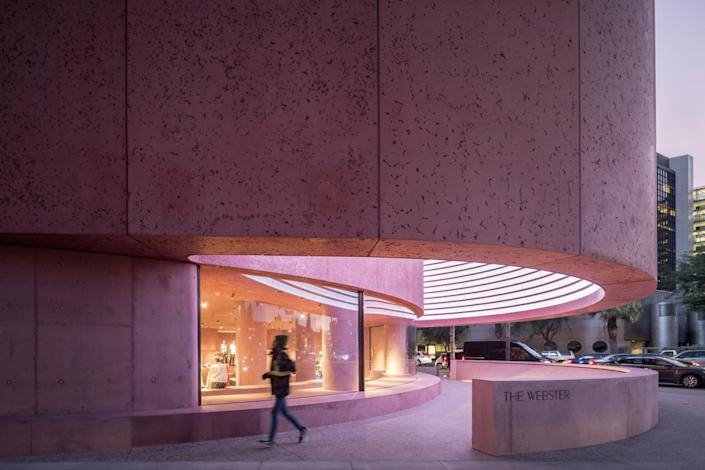 """The Webster LA stands out with its pink concrete architecture and high-end fashion at the Beverly Center. <span class=""""copyright"""">(Laurian Ghinitoiu / The Webster LA)</span>"""
