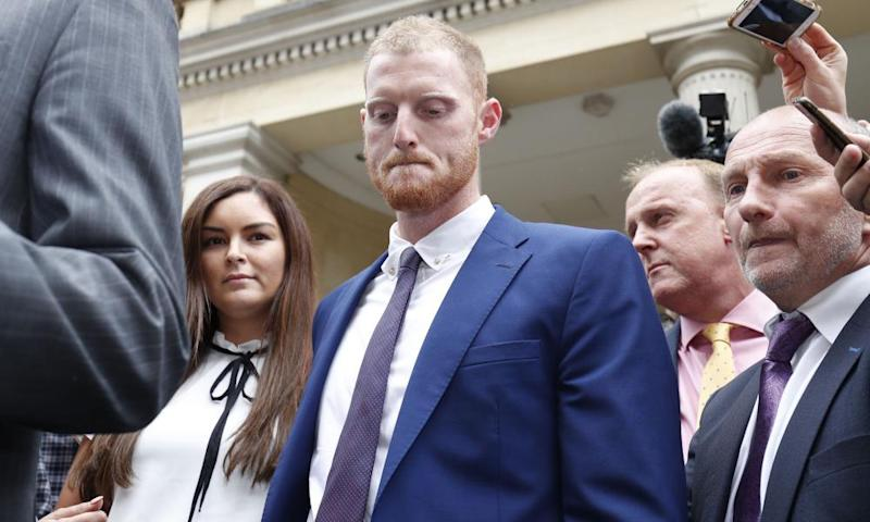 Ben Stokes and his wife Clare outside Bristol crown court after he was cleared of affray.