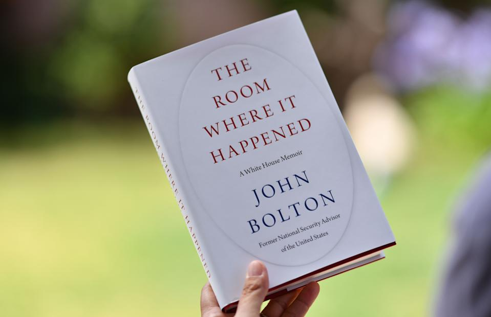 "TOPSHOT - This illustration photo taken on June 23, 2020 in Glendale, California, shows John Bolton's book ""The Room Where it Happened"" on the day of it's release in Los Angeles. - The Trump administration tried unsuccessfully to block publication of Bolton's book claiming it contained classified national security information.Former US national security advisor John Bolton said Sunday he thinks North Korean leader Kim Jong Un ""gets a huge laugh"" over US counterpart Donald Trump's perception of their relationship. Bolton spoke to ABC News for his first interview ahead of the Tuesday release of his tell-all book, which contains many damning allegations against Trump. (Photo by Chris DELMAS / AFP) (Photo by CHRIS DELMAS/AFP via Getty Images)"