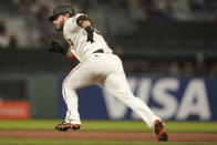San Francisco Giants' Brandon Crawford steals second base during the seventh inning of a baseball game against the St. Louis Cardinals in San Francisco, Wednesday, July 7, 2021. (AP Photo/Jeff Chiu)
