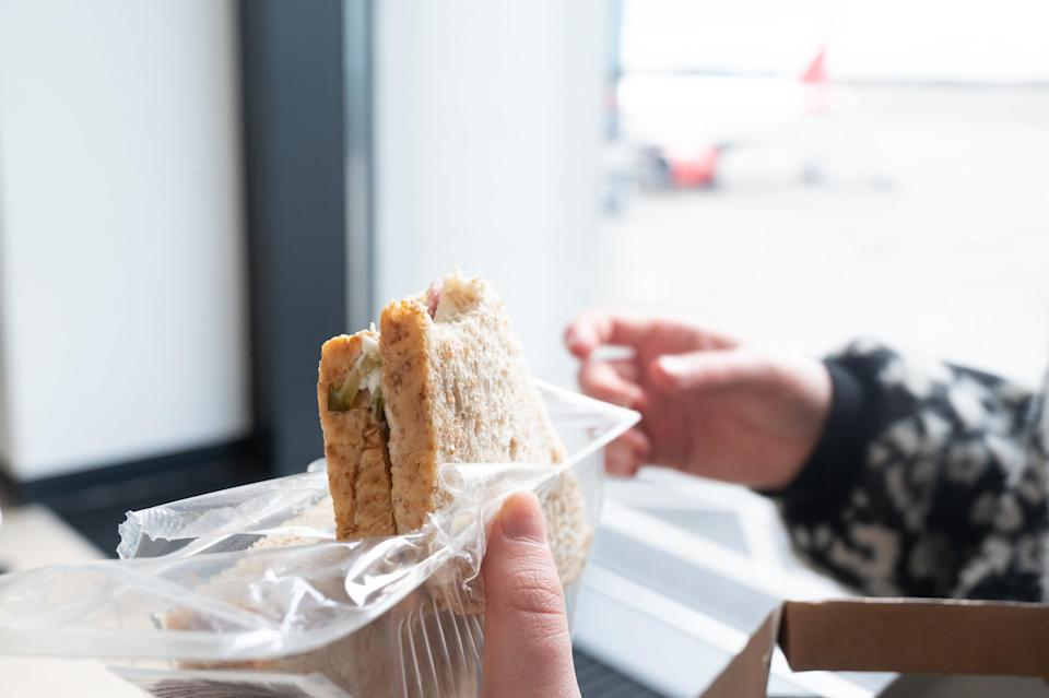 A packed sandwich for a flight