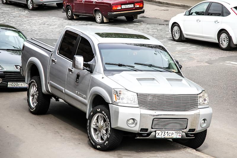 Moscow, Russia - May 6, 2012: Pickup truck Nissan Titan in the city street.