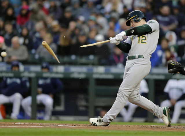Oakland Athletics' Sean Murphy breaks a bat on a pitch from Seattle Mariners' Marco Gonzales during the second inning of a baseball game, Saturday, Sept. 28, 2019, in Seattle. (AP Photo/John Froschauer)