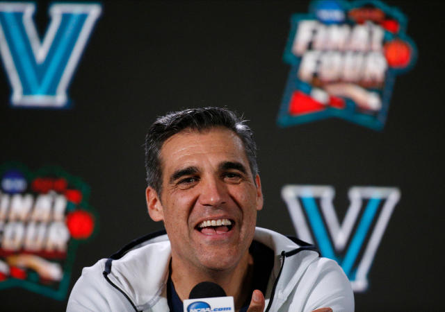 Villanova head coach Jay Wright answers questions during a news conference for the championship game of the Final Four NCAA college basketball tournament, Sunday, April 1, 2018, in San Antonio. (AP Photo/Brynn Anderson)