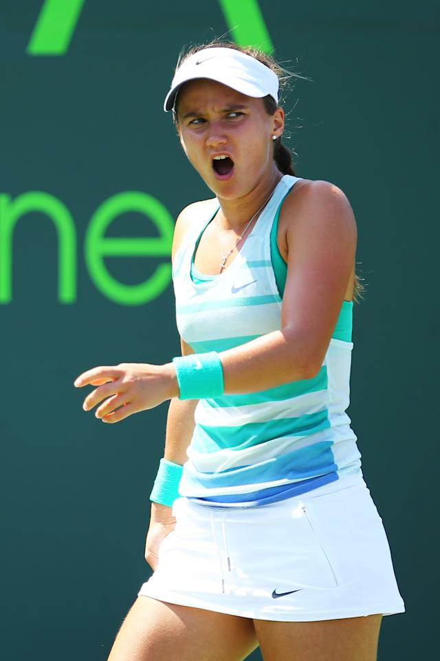 KEY BISCAYNE, FL - MARCH 24:  Lauren Davis of the USA reacts to a lost point against Alize Cornet of France during Day 7 of the Sony Open at the Crandon Park Tennis Center on March 24, 2013 in Key Biscayne, Florida.  (Photo by Al Bello/Getty Images)