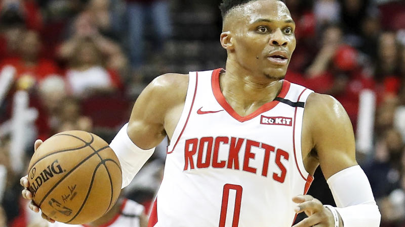 Houston Rockets point guard and former NBA MVP Russell Westbrook is pictured playing against the Orlando Magic.