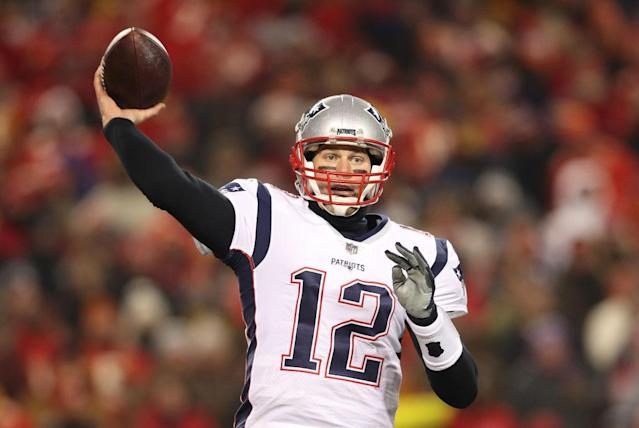 "Does <a class=""link rapid-noclick-resp"" href=""/nfl/players/5228/"" data-ylk=""slk:Tom Brady"">Tom Brady</a> throw a pick in the Super Bowl on Sunday? (Photo by Patrick Smith/Getty Images)"