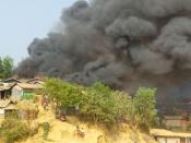 Smoke billows from a fire at a Balukhali refugee camp in Cox's Bazar