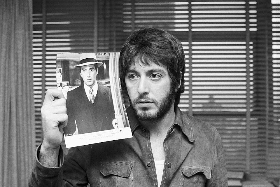 <p>Before the Oscars, Pacino shows off a photo of himself from the movie next to his day look. He was nominated for Best Supporting Actor for his work in <em>The Godfather.</em><br></p>