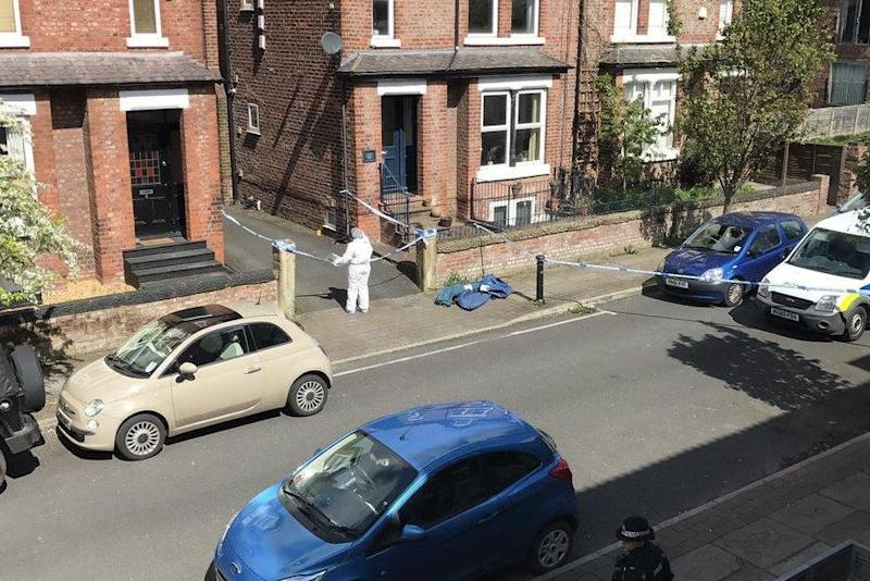 Murder investigation: Police at the scene in Manchester (@Jobo89)