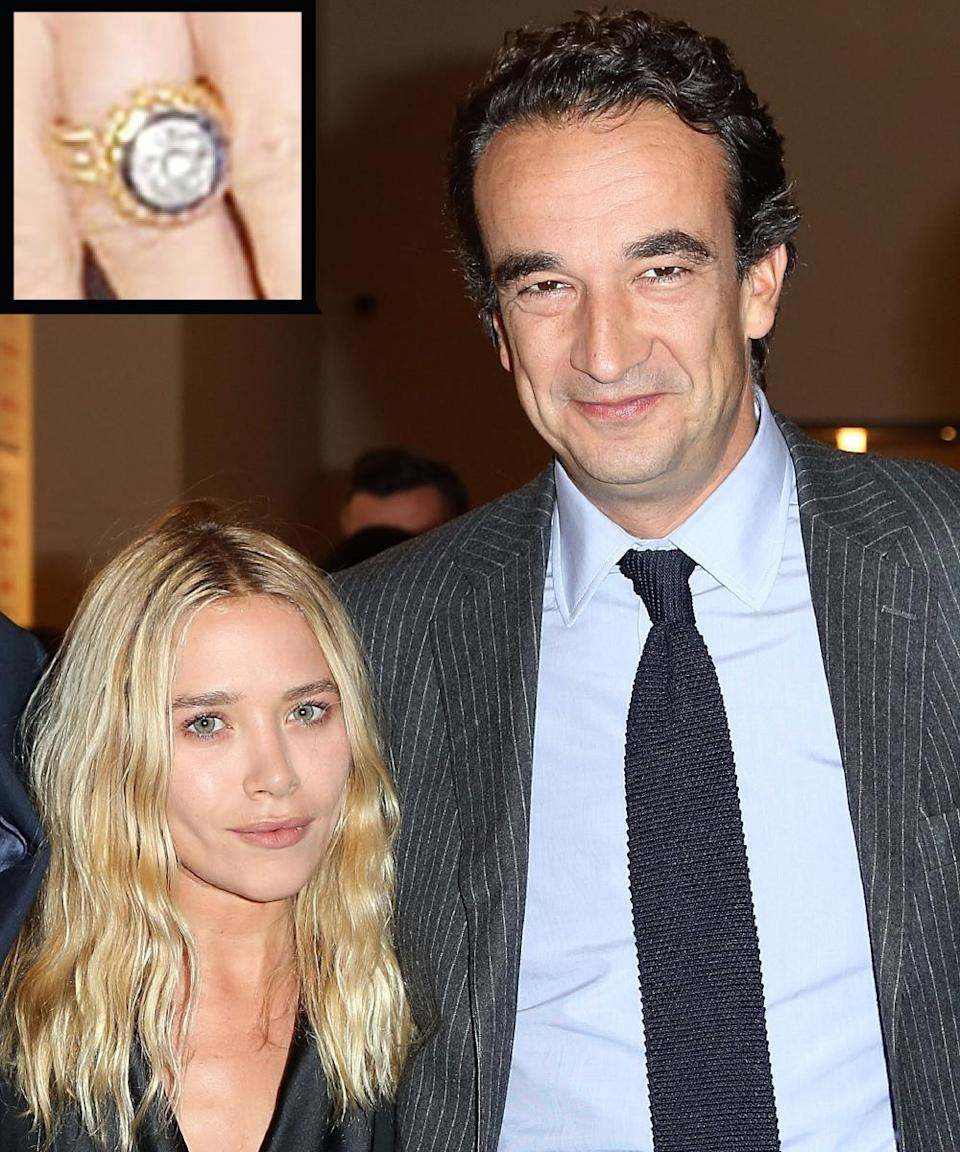 """<p>In 2014, Olivier Sarkozy proposed to Mary-Kate Olsen with a four-carat vintage Cartier <a rel=""""nofollow noopener"""" href=""""http://www.instyle.com/news/mary-kate-olsen-stunning-engagement-ring-plus-wedding-band-set"""" target=""""_blank"""" data-ylk=""""slk:engagement ring"""" class=""""link rapid-noclick-resp"""">engagement ring</a> which was reportedly purchased at a Sotheby's jewelry auction for $81,250. The couple wed in November 2015.</p>"""