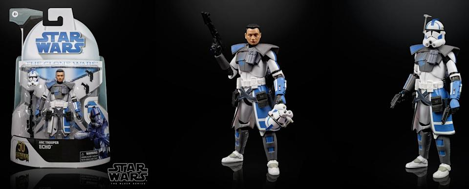 Soon to be in the Bad Batch, Clone Trooper Echo arrives under the Black Series label.