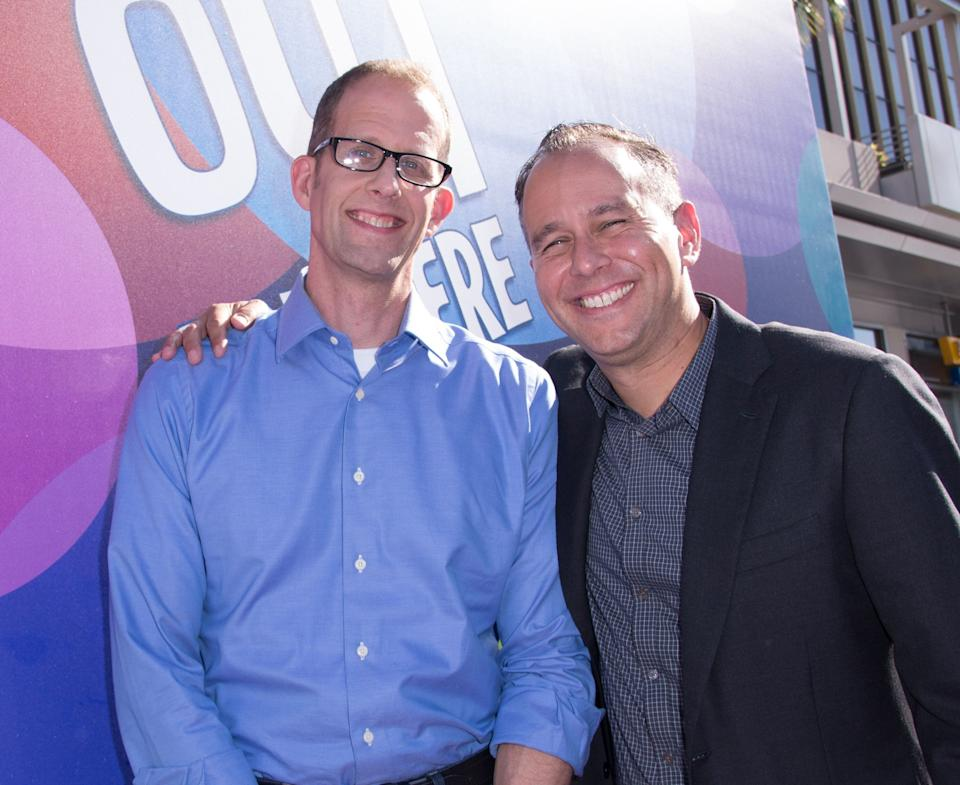 "Pete Docter, left, and Jonas Rivera are seen at the Los Angeles premiere of  ""Inside Out"" at the El Capitan Theatre on Monday, June 8, 2015 (Photo by Dan Steinberg/Invision/AP)"