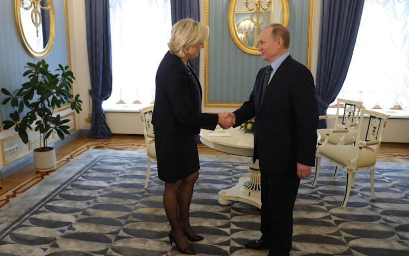 Russian President Vladimir Putin meets with French presidential election candidate for the far-right Front National (FN) party Marine Le Pen at the Kremlin in Moscow - Credit:  MIKHAIL KLIMENTYEV/AFP