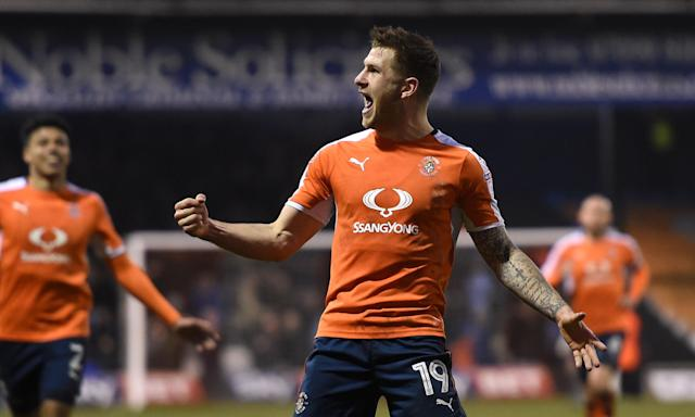 Luton Town's James Collins celebrates scoring his team's second goal during the League Two match against Barnet at Kenilworth Road.