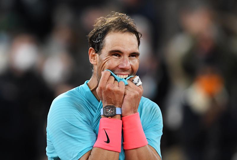 PARIS, FRANCE - OCTOBER 11: Rafael Nadal of Spain celebrates after winning championship point during his Men's Singles Final against Novak Djokovic of Serbia on day fifteen of the 2020 French Open at Roland Garros on October 11, 2020 in Paris, France. (Photo by Shaun Botterill/Getty Images)