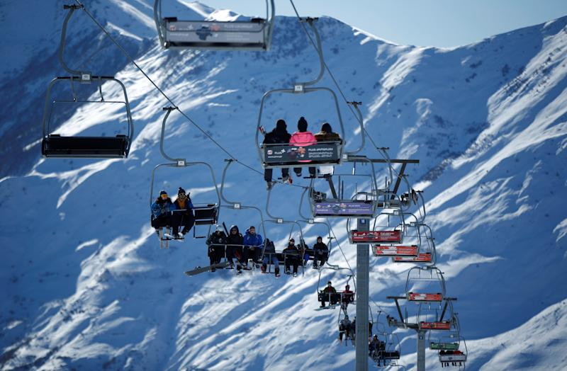A chairlift malfunction at the Gudauri ski resort in the Caucasus mountain range in Georgia, shown in 2017, sent people flying into the air. (David Mdzinarishvili / Reuters)