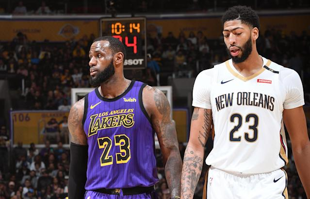 LeBron James and Anthony Davis didn't get what they wanted at the trade deadline. (Photo by Andrew D. Bernstein/NBAE via Getty Images)