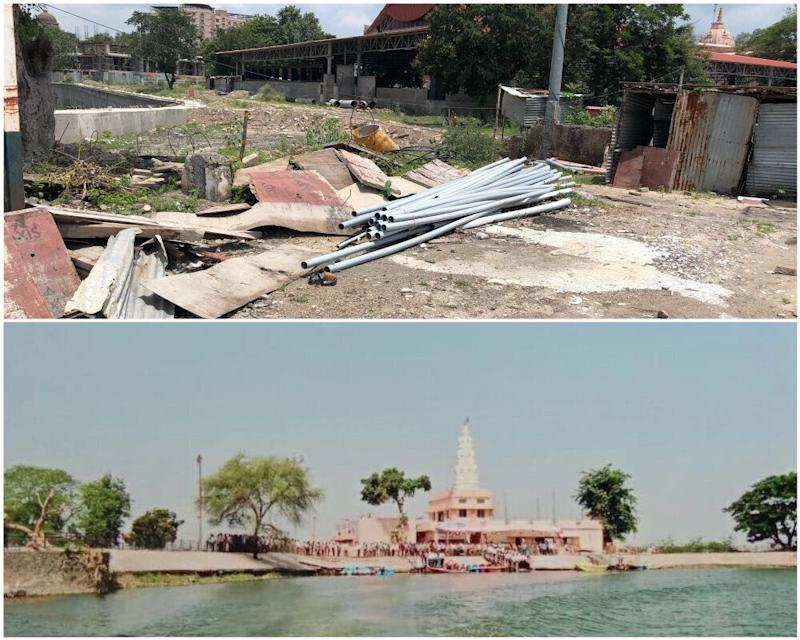 The site of the demolished Ram temple in Koradi village of Nagpur. Below is the picture of Ram Temples that once existed there. (Photo: Pavan Dahat/HuffPost India )