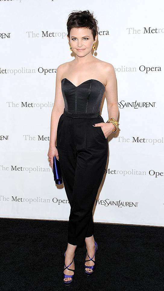 """Big Love"" looker Ginnifer Goodwin made a bold statement at the Metropolitan Opera premiere of ""Armida"" in a stylish Yves St. Laurent bustier and tuxedo pants. Purple strappy sandals and a matching YSL clutch completed her look. Andrew H. Walker/<a href=""http://www.gettyimages.com/"" target=""new"">GettyImages.com</a> - April 12, 2010"