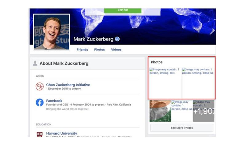 Nutzer konnten teilweise – wie hier auf dem Account von Mark Zuckerberg – sehen, wie Facebook & Co. Bilder vertaggen. (Bild: Screenshot Facebook / Mark Zuckerberg)