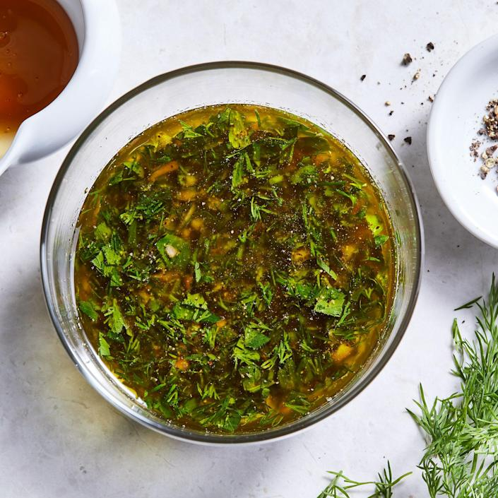 <p>Pick your favorite herb (or two!) to feature in this easy lemon-herb vinaigrette that's perfect tossed with grilled veggies.</p>