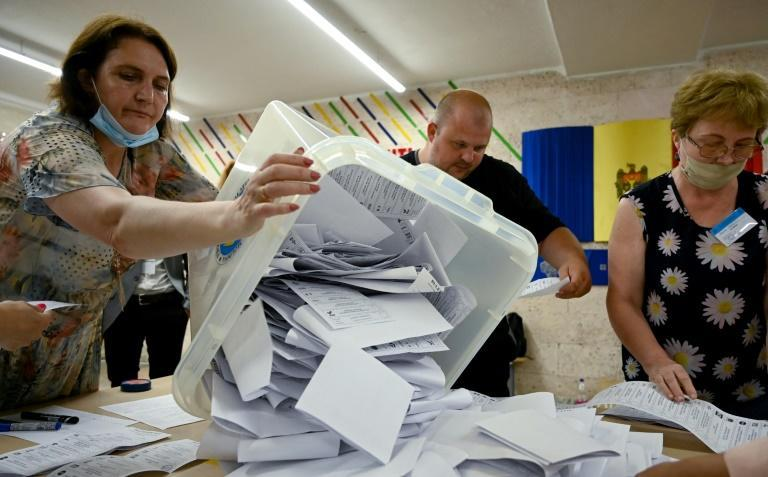 President Maia Sandu's party was in the lead with 90 percent of ballots counted