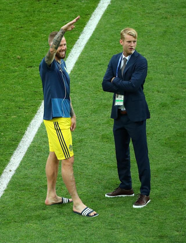 Soccer Football - World Cup - Group F - Germany vs Sweden - Fisht Stadium, Sochi, Russia - June 23, 2018 Sweden's Pontus Jansson and Filip Helander before the match REUTERS/Hannah McKay