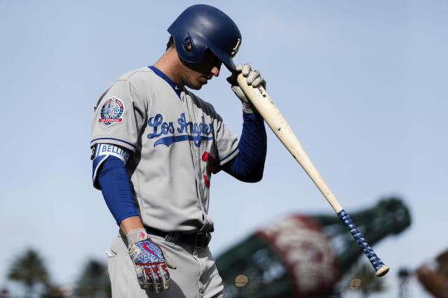 Cody Bellinger was benched for not hustling after hitting a double Sunday. (AP Photo/John Hefti)