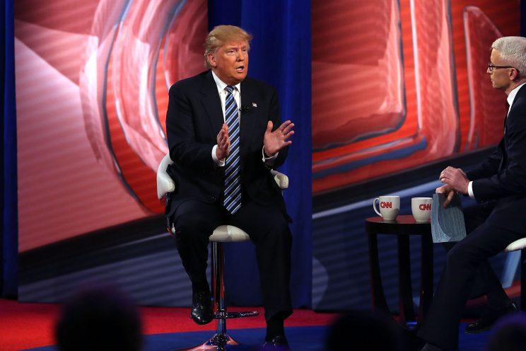 74a9e1c15423 Donald Trump speaks at CNN's Town Hall in February 2016. (Photo: Getty  Images