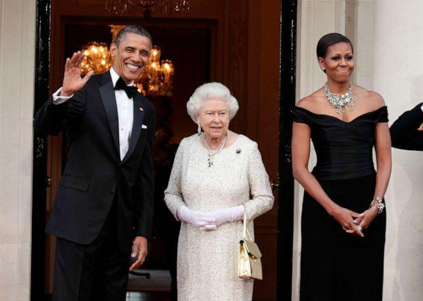 PHOTO: President Barack Obama and Michelle Obama greet Queen Elizabeth ll ahead of a dinner at Winfield House, the official residence of the U.S. Ambassador, May 25, 2011 in London. (Anwar Hussein/WireImage/Getty Images, FILE)