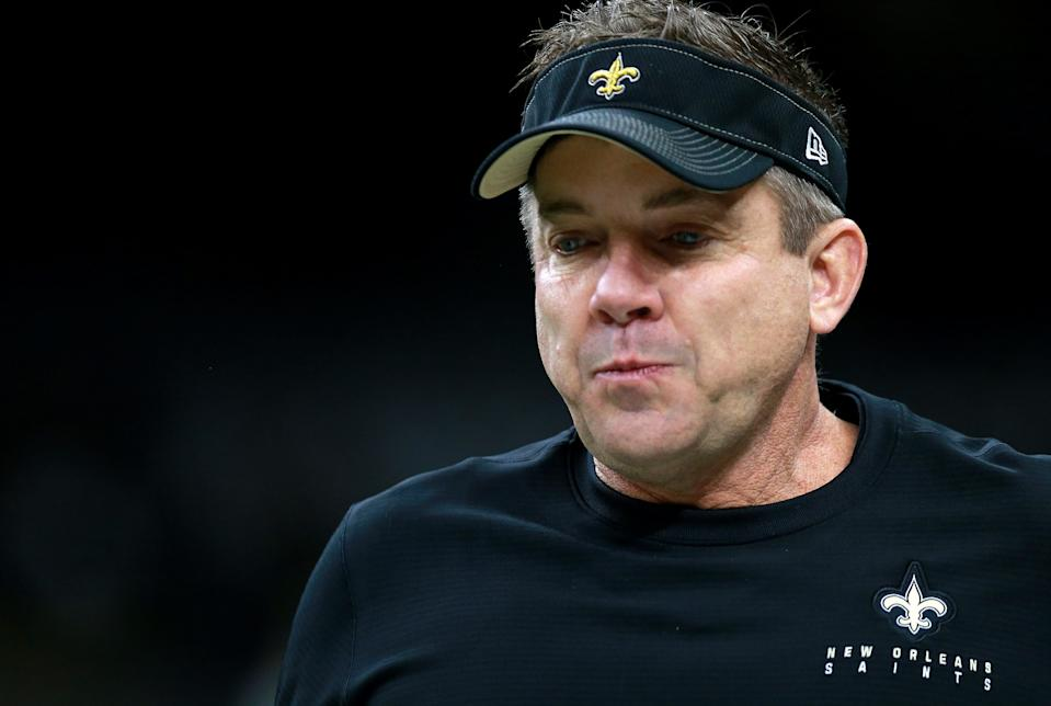 New Orleans Saints coach Sean Payton once more must swallow a bitter playoff loss. (Photo by Sean Gardner/Getty Images)