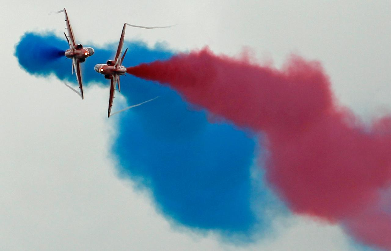 The Red Arrows Rehearse For The Upcoming Airshow Season At RAF Scampton
