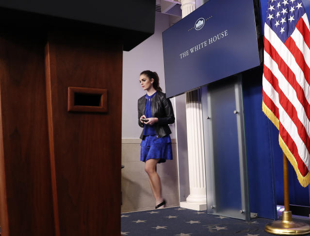 Hope Hicks, adviser to President Donald Trump, walks to her seat before the start of the daily briefing in the Brady Press Briefing Room of the White House in Washington, Tuesday, Feb. 14, 2017.