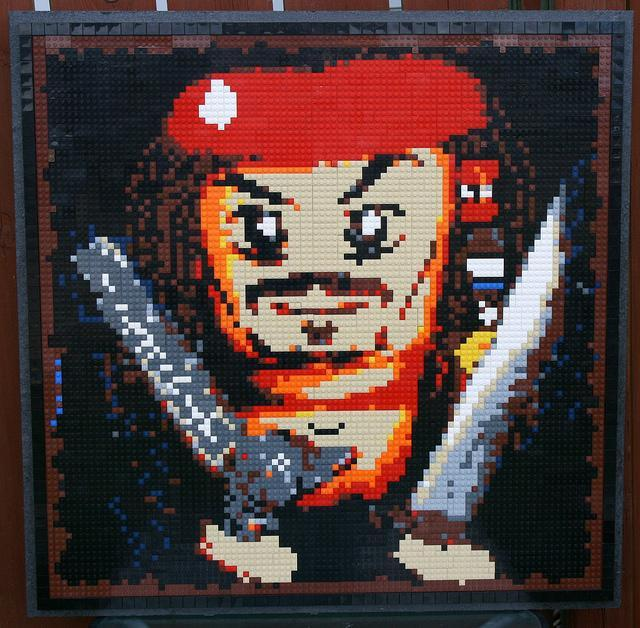 A custom made LEGO mosaic of Jack Sparrow by Dave Ware